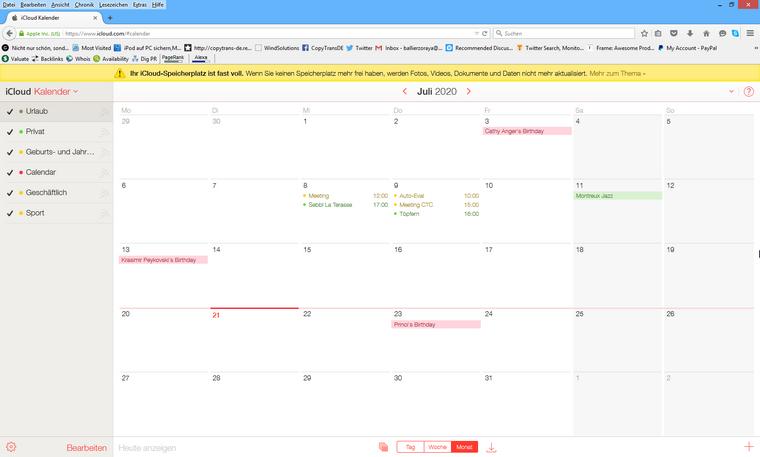 Outlook Kalender unter icloud.com