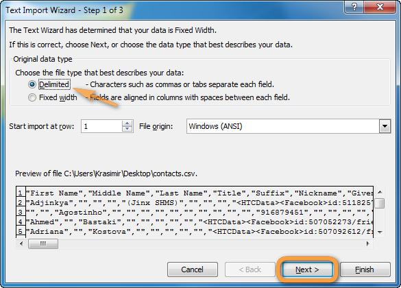 CSV-Datei getrennt in Excel importieren