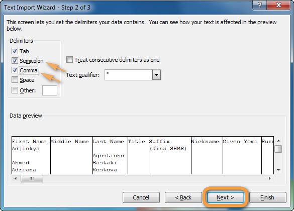 Trennzeichen im Excel auswählen