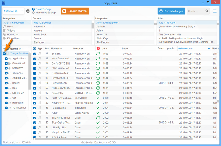 iPhone Daten in leere iTunes Mediathek übertragen