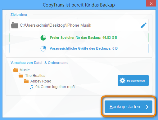 iPhone Musik Backup starten