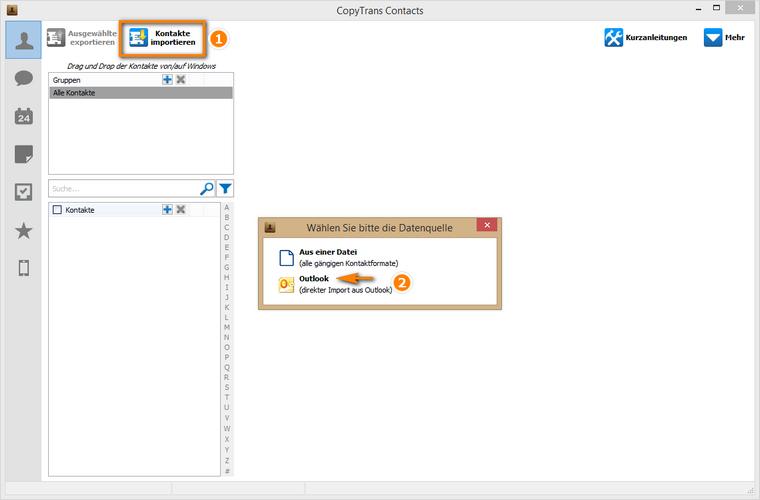 Kontakte aus Outlook zumiPhone importieren