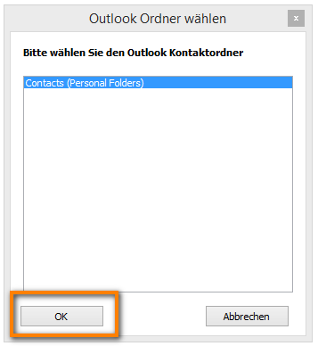 Kontaktordner aus Outlook auswählen