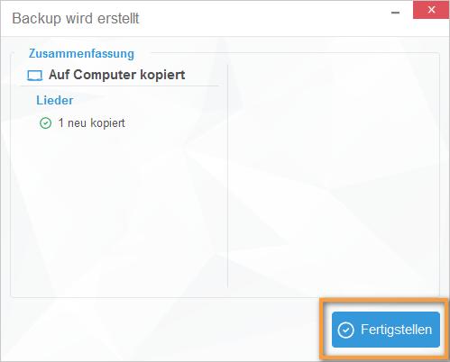 iOS Sicherung am PC fertigstellen
