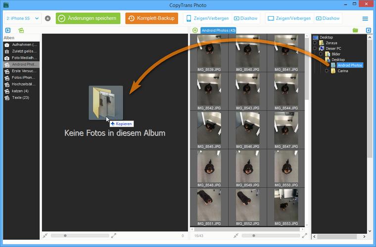 Fotoalben vom PC auf iPhone übertragen