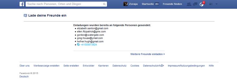 Facebook Einladung erfolgreich abgesendet