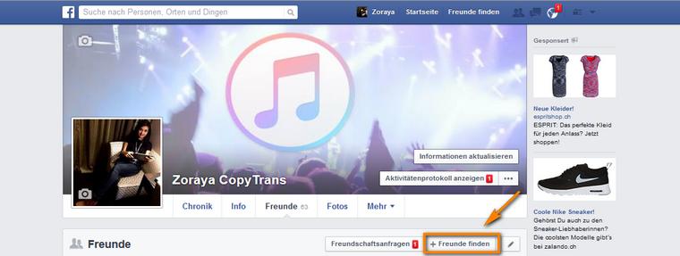 Facebook Freunde finden