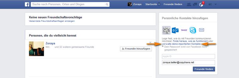 Persönliche Kontakte in Facebook hinzufügen