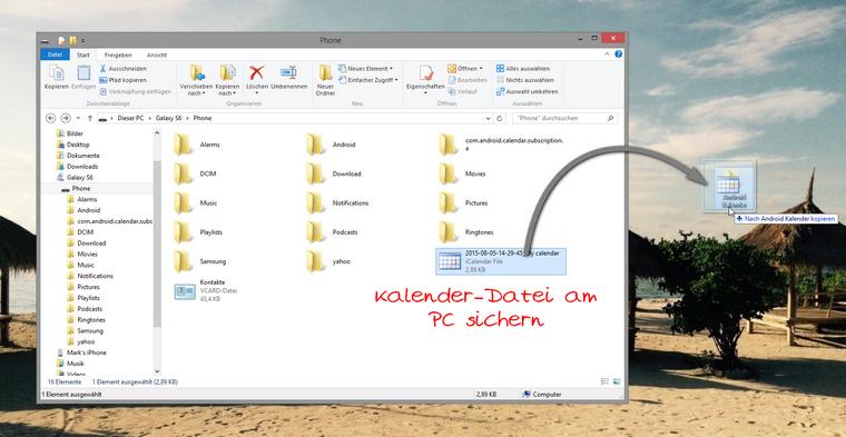 iCalendar Datei zum PC kopieren