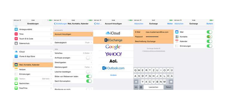 Exchange Kontakte am iPhone aktivieren