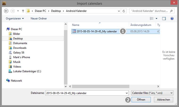 Kalenderdatei am PC auswählen