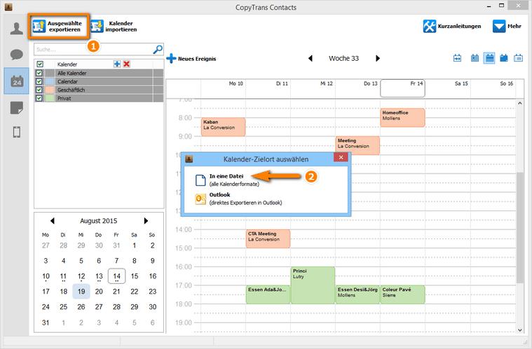 Kalender übertragen