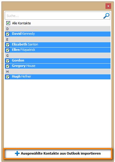 Ausgewählte Kontakte aus Outlook importieren