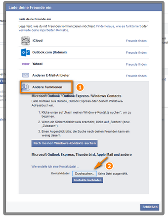Andere Facebook Funktionen auswählen