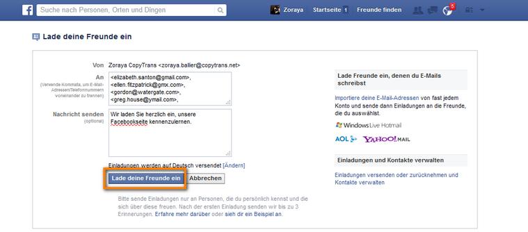 Facebook Freunde einladen