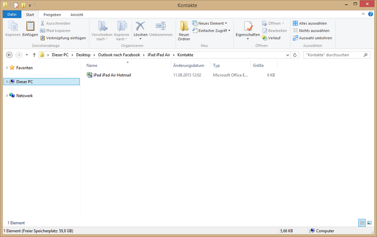 Outlook Kontakte am PC gesichert