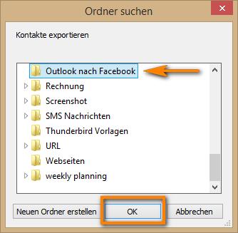 Zielordner für Outlook Kontakte auswählen