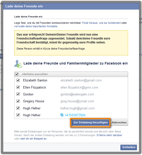 Facebook Kontakte zur Einladung hinzufügen