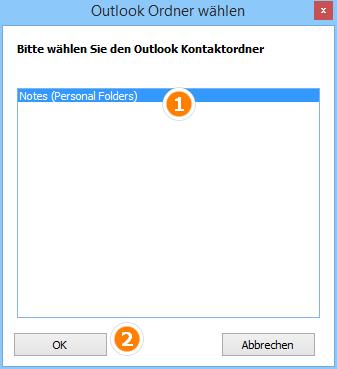 Notizenordner in Outlook auswählen
