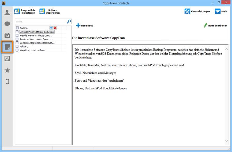 Outlook Notizen ohne iTunes übertragen
