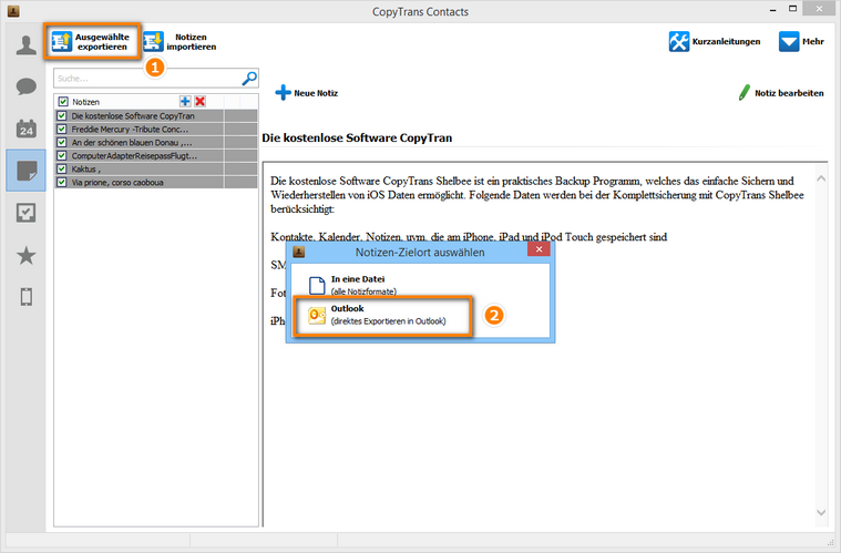 Ausgewählte Notizen in Outlook exportieren
