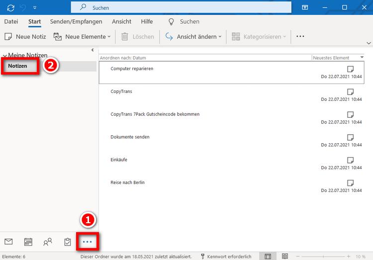 Notizen vom iPhone in Outlook gesichert