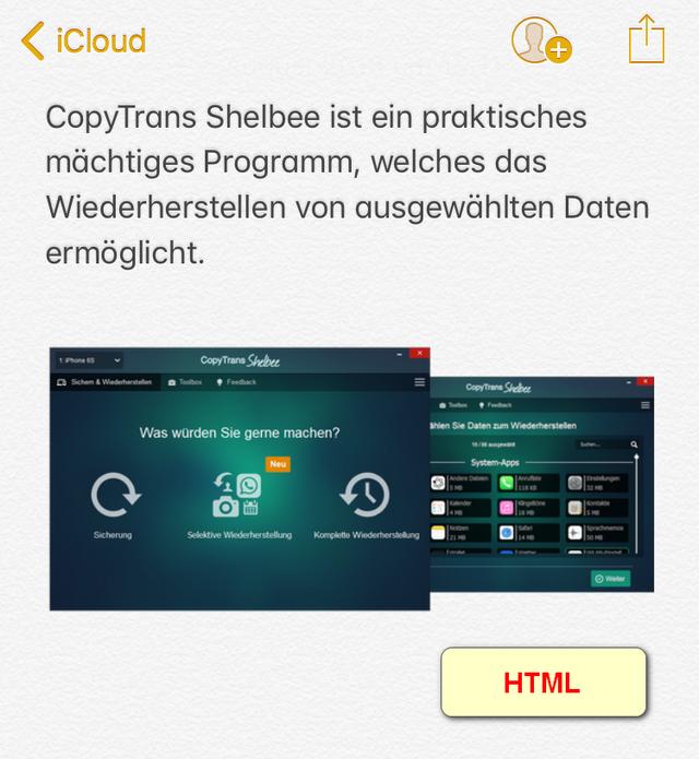 iPhone Notizen unter iOS 9 im HTML-Format