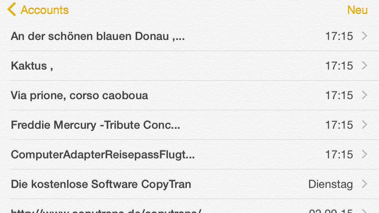 Outlook Notizen am iPhone