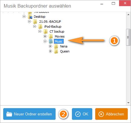 iPhone Musik Backupordner aswählen