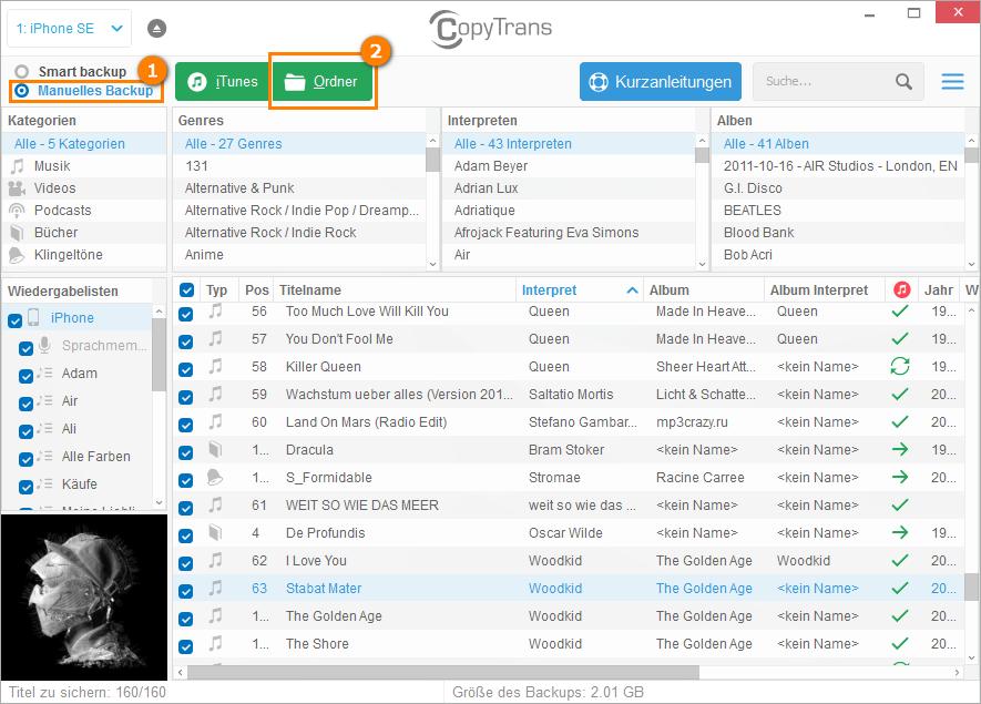iPhone Musik auf eine externe Festplatte speichern