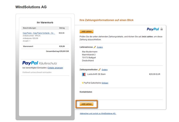Mit PayPal bezahlen