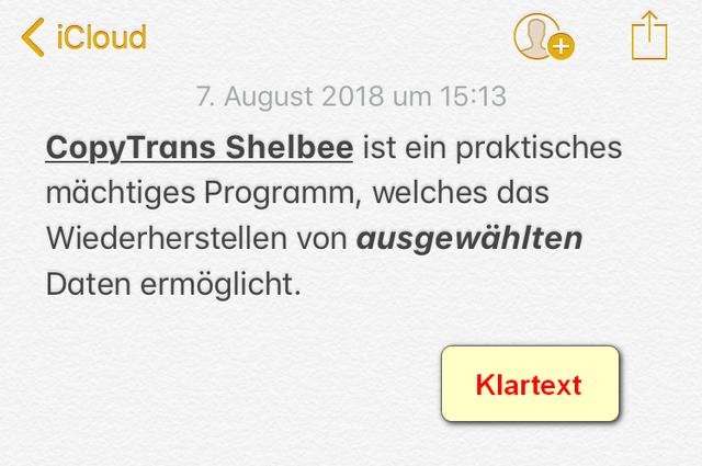 iPhone Notizen unter iOS 9 im Klartext