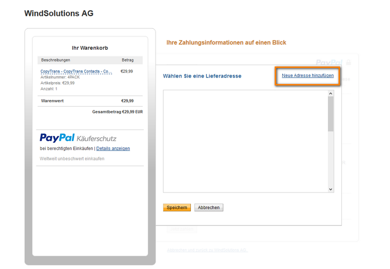Neue Rechnungsadresse in Paypal eingeben