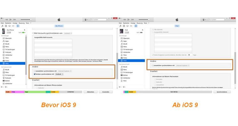 Outlook Notizen nicht mehr mit iTunes synchronisieren