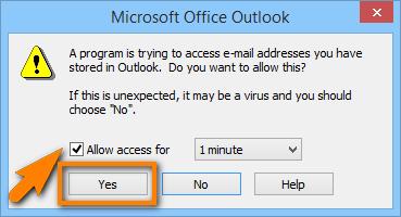 Outlook Zugriff gewähren