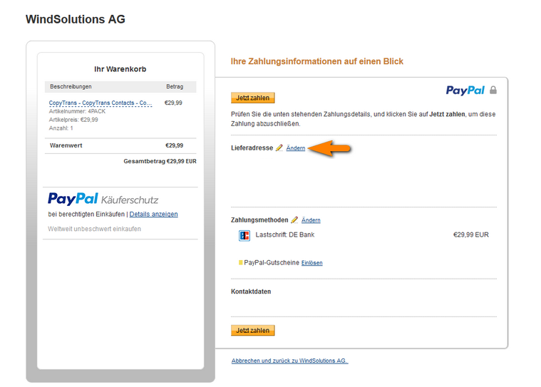 Lieferadresse in PayPal ändern