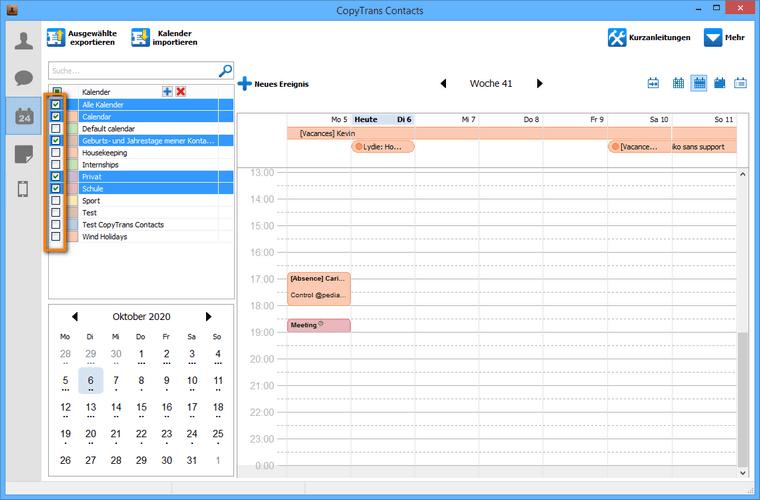 Einzelne Kalenderkategorien löschen