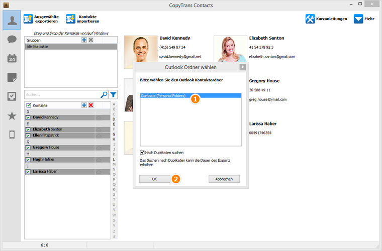 Outlook Profil auswählen