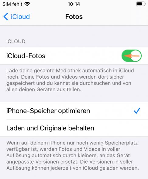iCloud Fotos deaktivieren