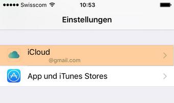 iCloud Einstellungen am iPhone
