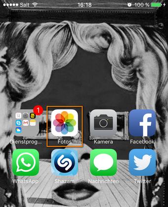 iPhone Foto App öffnen