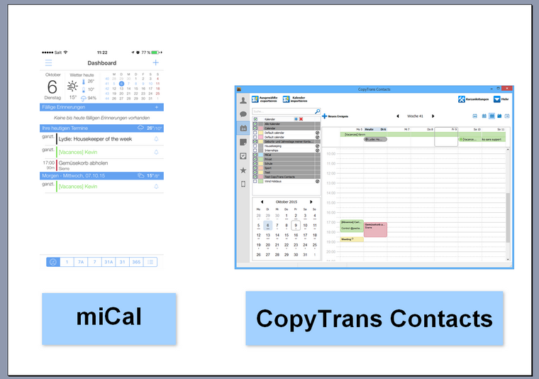Kalender Alternative mit CopyTrans Contacts verwalten