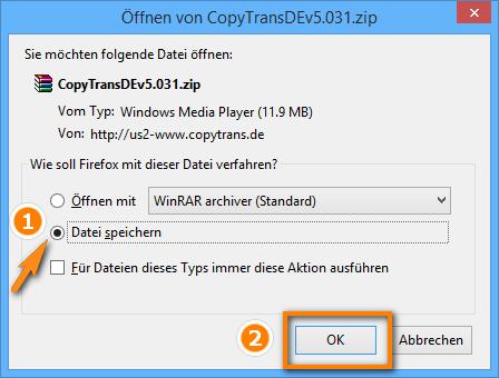 CopyTrans Zip-Datei am PC sichern