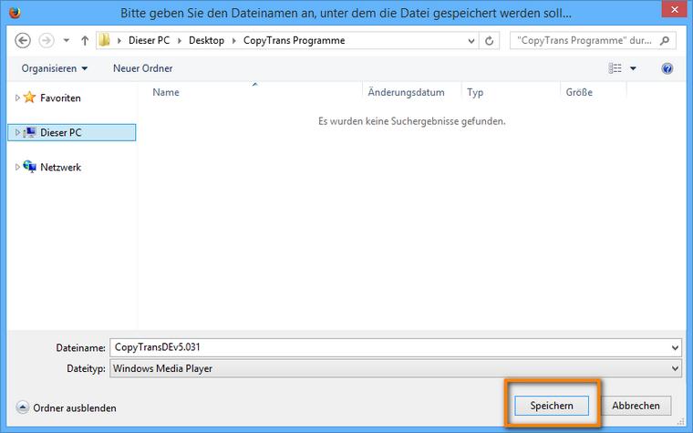 Zielordner am PC für Zip-Datei auswählen