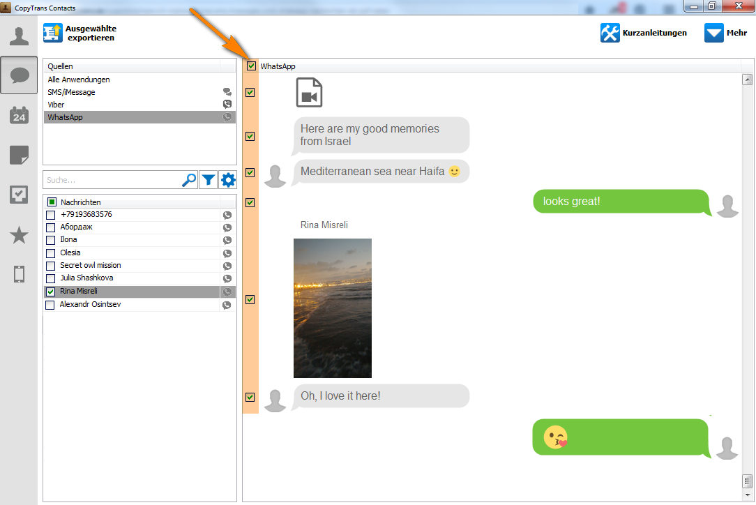 Alle WhatsApp-Nachrichten mit Emojis und Bilder am PC speichern