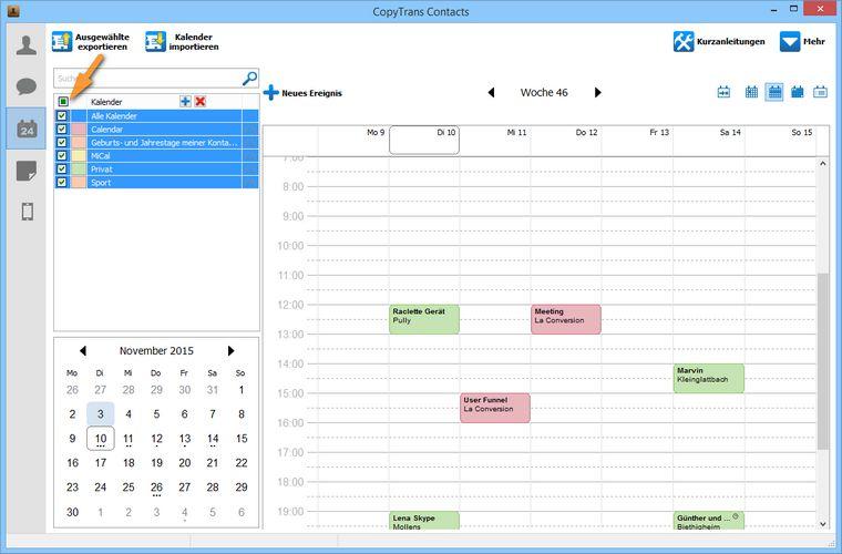 Kalenderkategorien aus iCloud auswählen