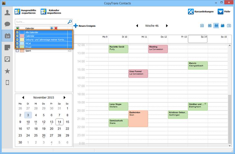 Kalender vom iPhone nach iCloud kopieren