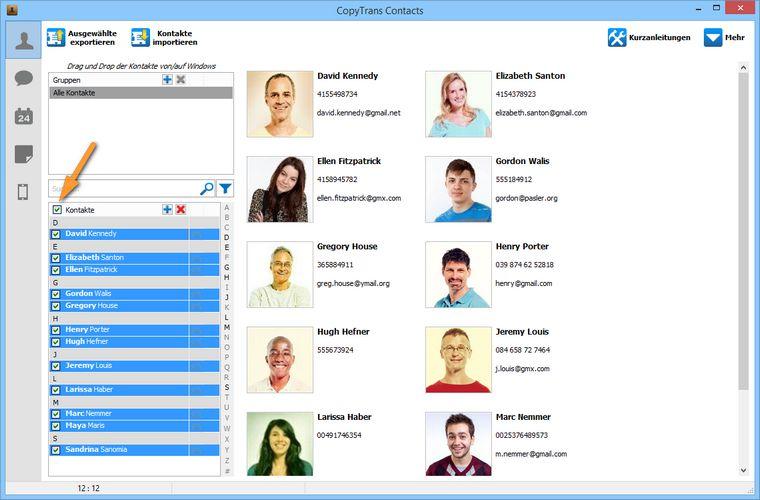 iCloud Kontakte auswählen