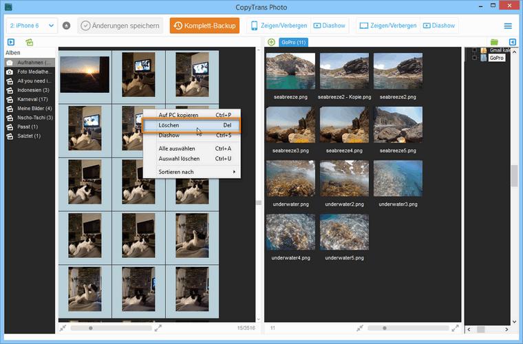 iPhone Bilder löschen am PC