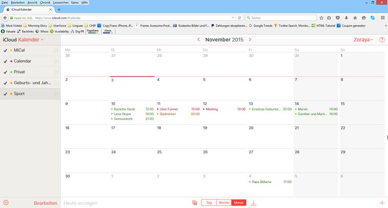 iCloud kalender verwalten